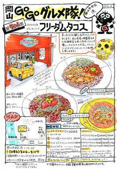 岡山県の美味いものイラスト日記 Menu Illustration, Food Illustrations, Food Catalog, Food Map, Food Sketch, Okayama, Sketch Notes, Comic Pictures, Food To Go
