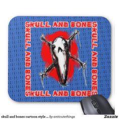 skull and bones cartoon style illustration mouse pad