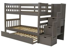 Stairway Twin over Twin Bunk Bed Gray + Trundle - no Mattress