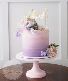 This pastel beauty designed by is perfect for a summer soirée! Its paired with my Pretty in Pink Picture Perfect cake stand. TAP THE CAKE STAND & see the full collection. Cake Pink, Purple Cakes, Pink Ombre Cake, Purple Birthday Cakes, Flower Birthday Cakes, Elegant Birthday Cakes, Beautiful Birthday Cakes, Purple Wedding Cakes, 40th Birthday Cakes