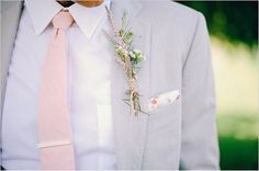 Hues Wedding Inspiration - Pink Weddings - Trendy Bride Magazine Grey suit blush tie groomBlush (color) Blush is a medium bright tone of red-violet. The first written use of blush as a color name in English was in Blush Groomsmen, Groomsmen Outfits, Groomsmen Tuxedos, Groom Outfit, Groom Attire, Groom And Groomsmen, Bride Groom, Vintage Wedding Suits, Grey Suit Wedding