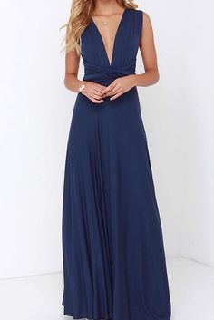 Navy Blue Infinity Endless Elegant Wrap Dress Long Length
