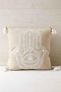 Plum & Bow Hamsa Pillow - Neutral One Sofas Relax, Moroccan Design, Hand Of Fatima, Hamsa Hand, Bedroom Styles, Spring Colors, My Room, Dorm Room, Boho Decor