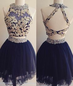 Lovely Two Piece Applique Homecoming Dress,Navy Blue Party Dress,Tulle Short Prom Dress