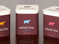 Designed by Lindsay Reynolds Dallas, TX, USA Brief Packaging for a line of cream top yogurt (student work). (Packaging Concept: Brown Cow Yogurt Design: Designed by Lindsay Reynolds Dallas, TX, USA Brief Packaging f. Yogurt Packaging, Dairy Packaging, Ice Cream Packaging, Fruit Packaging, Beverage Packaging, Brand Packaging, Packaging Design, Packaging News, Product Packaging