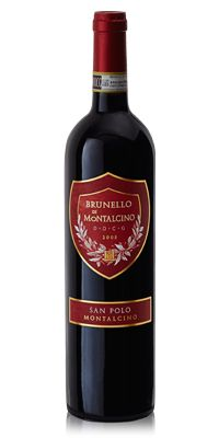 San Polo Brunello Di  Montalcino 2008. This wine reveals typical aromas of violets and small red berries. There is a distinctive aroma of woodland undergrowth, aromatic wood and a light note of vanilla and preserved fruit, followed by subtle nuances of coffee. It is intense, persistent, broad and ethereal. Full-bodied and warm on the palate, with a densely-woven texture and robust body, while the finish is persistent with rounded tannins.
