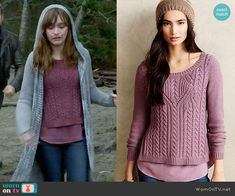 Emma's purple cable knit sweater on Bates Motel.  Outfit Details: http://wornontv.net/48913/ #BatesMotel