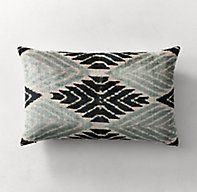RH's Ikat Silk Velvet Aziza Pillow Cover - Lumbar:Hand woven by artisans in Uzbek, our ikat silk velvet pillows are a revival of a lost art that dates to the 19th century. Falling dormant during the Soviet era, this authentic style has drawn a new generation of artisans dedicated to reclaiming their art and their legacy – gathering the pure silk filaments, resist-dyeing them in a rainbow of colors and weaving them into masterful ikat patterns. Variations in the handmade process ...