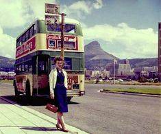 City Tramways double decker displaying ads for Cavalla cigarettes! Dublin, Cities In Africa, Le Cap, Bus Stop, Most Beautiful Cities, Historical Pictures, African History, Cape Town, Live