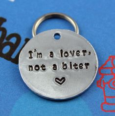 Dog Name Tag - Handstamped Aluminum Pet Tag - Personalized Unique Dog ID Tag - Customized