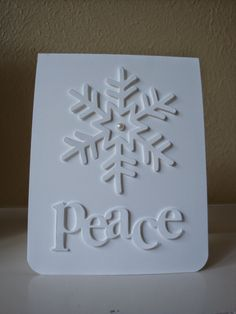 """Stampin' Up! handmade Christmas card from penguinstamper . white on white . clean and simple . die cut snowflake and a die cut """"peace"""" . Big Christmas Tree, First Christmas, Christmas Lights, Christmas Cards, Xmas, Christmas Ideas, Snowflake Cards, Snowflakes, Charlie Brown Tree"""