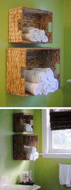 How to make bathroom towel storage basket step by step DIY tutorial instructions