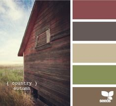 Option 1!!  Colors rustic old barn. Living room color scheme?