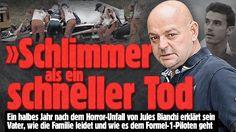 Bianchi-Vater: Schlimmer als ein schneller Tod -  Sechs Monate nach dem Horror-Unfall seines Sohnes gibt Philippe Bianchi (l.) ein emotionales Interview -  Ein halbes Jahr nach dem Horror-Unfall von Jules Bianchi erklärt sein Vater, wie die Familie leidet und wie es dem Formel-1-Piloten geht   »Schlimmer als ein schneller Tod http://www.bild.de/sport/motorsport/formel1/bianchi-koma-schlimmer-als-ein-schneller-tod-40512120.bild.html