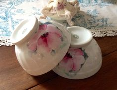 Two Vintage Limoges Cafe au Lait Bowls Made in France, Cottage Style, Shabby Chic, French Country, Porcelain, Coffee Cups