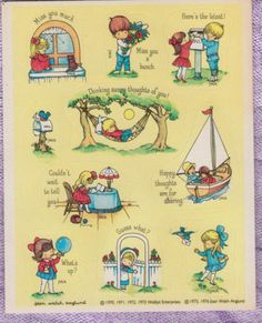 Hallmark Vintage 1976 Joan Walsh Anglund Sticker Sheet - Children Mail Letter