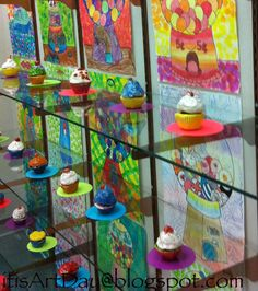 It is Art Day!: Gumball and Cup Cake Art Wayne Thiebaud Style