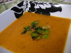 pumpkin soup with caramelized leeks