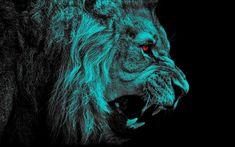 Download wallpapers lion, darkness, art, black background