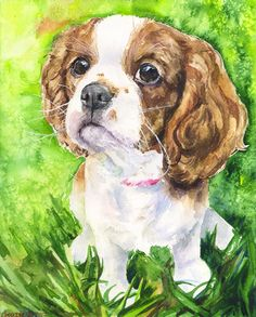 Cavalier King Charles Spaniel puppy watercolor Print of the Original Painting art cute Sweet Dog painting Decor by GeorgeWatercolorArt on Etsy