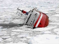 A Canadian cruise ship struck submerged ice off Antarctica, but all 154 passengers and crew, Americans and Britons among them, took to lifeboats and were plucked to safety by a passing cruise ship before the ship sank. Abandoned Ships, Abandoned Places, Ghost Ship, Shipwreck, Tall Ships, Water Crafts, Titanic, Underwater, Sailing