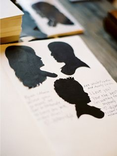 Silhouette are so perfectly old-fashioned. For a combo guest book and favor, hire a silhouette artist to come to your reception and create custom likenesses for all of your guests to be placed in a keepsake album.