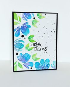 ... Spring Flowers are from Simon Says Stamp and they are beautiful! After white embossing the flowers, I used Distress Inks and water to add the color.