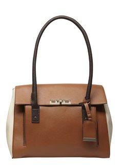 Tan mix large foldover tote bag