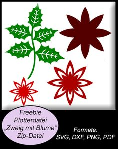FREE SVG DXF PNG PDF holly poinsettia Christmas Freebie Digitale Plottermotive - Peppercus-Design