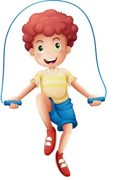 Boy jump roping -clip art