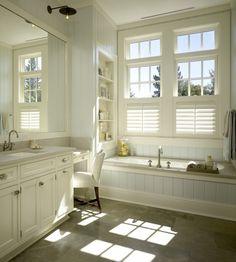 New farmhouse bathroom window coverings master bath ideas Master Bathroom Tub, Bathroom Sconces, Bathroom Flooring, Bathroom Cabinets, Bathroom Wall, White Bathroom, Bathroom Remodeling, Wall Cabinets, Bathroom Shelves