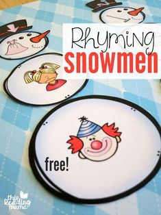 Work on phonological awareness skill of rhyme with this: Build a Rhyming Snowman - Free Pack - This Reading Mama Phonological Awareness Activities, Rhyming Activities, Kindergarten Literacy, Early Literacy, Winter Activities, Preschool Activities, Rhyming Worksheet, Literacy Centers, Preschool Winter