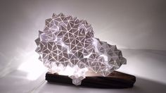 Geodesic/Wood Table Light Sculpture by BrittaGould on Etsy https://www.etsy.com/listing/255259523/geodesicwood-table-light-sculpture