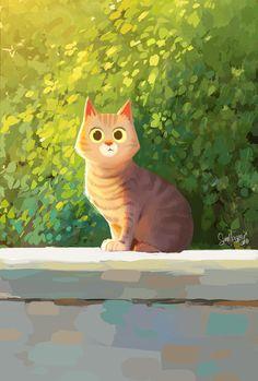 Art of Sam Nassour Art And Illustration, Character Illustration, Illustration Animals, Animal Illustrations, Illustrations Vintage, Cartoon Kunst, Cartoon Art, Animation, Cat Drawing