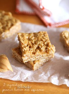 3 Ingredient No Bake Peanut Butter Oat Squares 1 C peanut butter 1/2 C Honey 3 C rolled oats