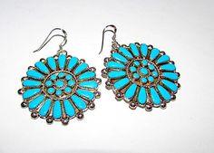 Vintage Zuni Sterling Silver Turquoise Pierced Dangle Statement Earrings Cluster Rosette Design #SterlingSilverTurquoise