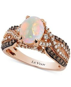 Le Vian Chocolatier® Opal (1-1/5 ct. t.w.) and Diamond (3/4 ct. t.w.) Ring in 14k Rose Gold