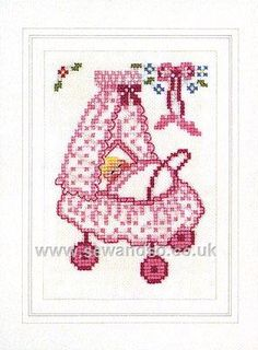 beautiful cross stitch baby card