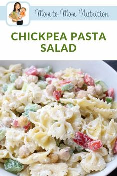 Chickpea Pasta Salad is a fresh and flavorful dish packed with protein, chopped veggies, and whole-grain pasta. Healthy Pasta Recipes, Healthy Pastas, Healthy Side Dishes, Vegetable Recipes, Nutrition Articles, Fabulous Foods, How To Cook Pasta, Pasta Salad, Family Meals
