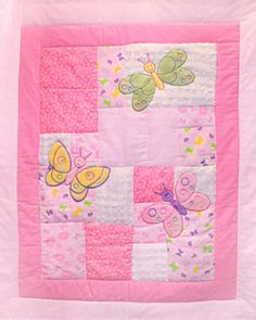 Nursery - Butterfly Baby - Applique Flannel Cot Panel - Click Image to Close Quilt Baby, Baby Quilt Panels, Fabric Panel Quilts, Baby Girl Quilts, Boy Quilts, Girls Quilts, Colchas Quilting, Machine Quilting Patterns, Baby Quilt Patterns