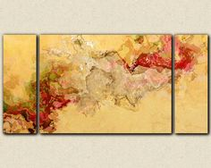 """Abstract art, large red and beige 30x60 to 40x78 triptych gallery wrap giclee canvas print, """"Love in Mind"""""""