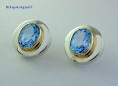 Brinco prata 950, ouro 18k, Topázio Azul