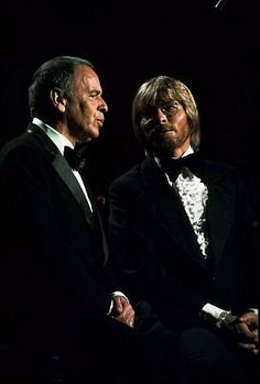 """Frank Sinatra and John Denver perform on """"Sinatra and Friends"""" television special 1977 ABC"""