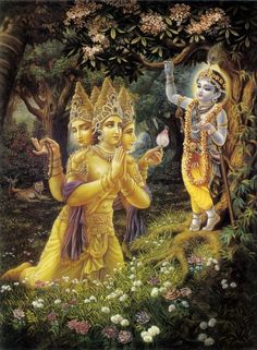 Brahma bowing to Krishna. It seems odd that he would do that considering Brahma is a creator, and Krishna is a mere avatar of Vishnu. Krishna is Supreme