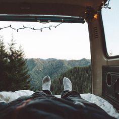 Sleeping in the van #outdoor #travel #wanderlust #adventure #camping #van #volkswagen #nature #mountains #createexploretakeover #bickleyandmitchell
