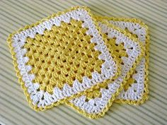 Miss Abigail's Hope Chest: Granny Square Dishcloth - My Favorite...new variation that hides awkward chain 3 at beginning of new row.
