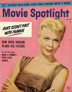 "Doris Day on the front cover of ""Movie Spotlight"" magazine, USA, August 1956."