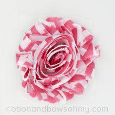 Ribbon And Bows Oh My! Shocking Pink <3 17 colors of #chevron Shabby Chiffon Flowers! #chiffonflower #shabbychic #shockingpink