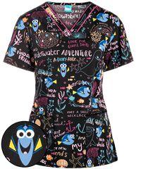 Cherokee Tooniforms Disney Pixar Underwater Adventure V-Neck Print Scrub Top Veterinary Scrubs, Medical Scrubs, Nurse Scrubs, Cute Scrubs Uniform, Pediatric Scrubs, The Awkward Yeti, Scrub Jackets, Scrub Pants, White V Necks
