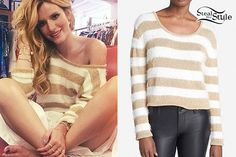 Bella Thorne posted an instagram photo from behind the scenes of a photoshoot wearing a MINKPINK 'Gee Whizz' Stripe Knit Sweater ($11.23) in White/Gold, also available at 6pm ($21.99).